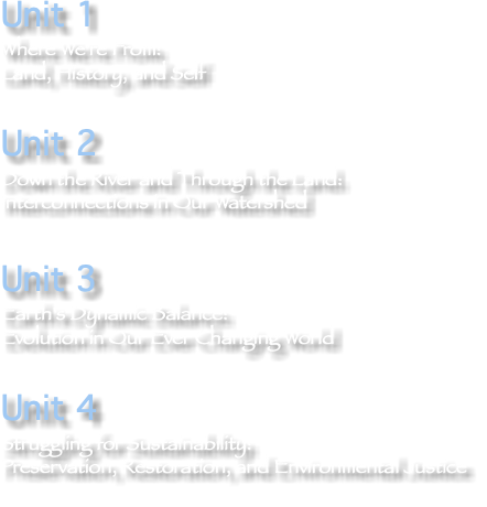 Unit 1 Where We're From: Land, History, and Self Unit 2 Down the River and Through the Land: Interconnections in Our Watershed Unit 3 Earth's Dynamic Balance: Evolution in Our Ever Changing World Unit 4 Struggling for Sustainability: Preservation, Restoration, and Environmental Justice